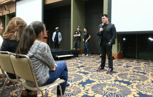"""Jose Antonio Vargas speaks at at Q&A for his film, """"White People,"""" at the Carnesale Commons Palisades Room October 15. (Photo by May Zeng)"""
