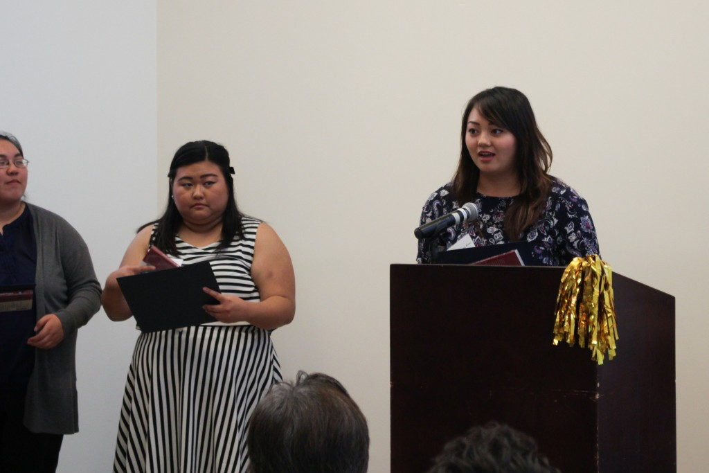 Scholarship winner Tiffany Guo receives the 21st Century Undergraduate Scholarship and the Ben & Alice Hirano Academic Prize.