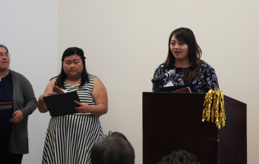 Scholarship winner Tiffany Guo receives the 21st Century Undergraduate Scholarship and the Ben & Alice Hirano Academic Prize at the Asian American Studies Center Annual Awards Reception October 24.