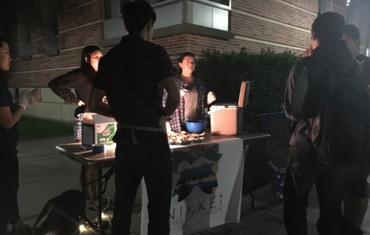 Nikkei Student Union sells waffles to students at General Representative 2's first Night Market Monday night. Photo by Karin Chan.
