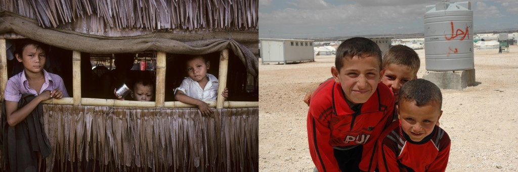 Left: Vietnamese refugee children pose at a refugee camp in Thailand in 1979. Right: Syrian refugee children pose at a refugee camp in Jordan in 2013. Photos courtesy of Flickr Creative Commons.