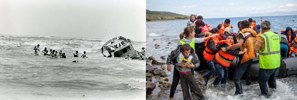 Left: Vietnamese boat people abandon a sinking fishing boat via flickr user Photo Unit. Right: Syrian refugees flee by raft via flickr user CAFOD Photo Library.