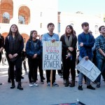 Students from APC (Asian Pacific Coalition) and AASGSA (Asian American Studies Graduate Student Association) stand in solidarity with Mizzou students on November 12, 2015