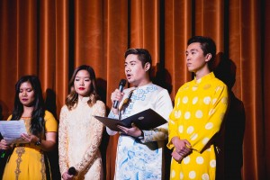 Vietnamese Culture Night 2017 Director, Michael Ly, addressing the audience at Royce Hall. Photo by Pham Photography.