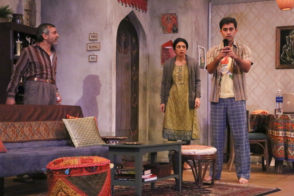 Anil Kumar as Ramesh (Malini's awkward co-worker and friend), Anna Khaja as Malini (Deepa's mother), and Kapil Talwalkar as Sharan (Deepa's older brother). Photo by Michael Lamont